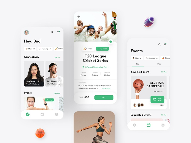 SPRT - Fitness App schedule event stories fit gym workout trainings trainer coach feed white sport fitness app ui healthcare health