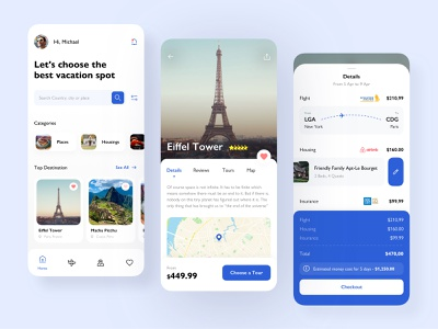 Travel app with tickets and hosts integrations icons map check out basket booking routs travel tickets book flight clean interface ux ui mobile