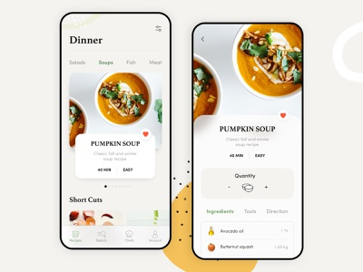 Recipes App tender light clean app education tutorial restourant lunch kitchen dish cook calories tasty ingredients delicious recipes drink food