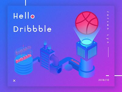 Hello Dribbble ! debuts 3d 2.5d light inset machine first shot dribbble hello ui logo design illustration