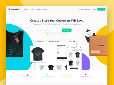 Volusion Site New 2017 layout online store brand website ecommerce rebrand homepage