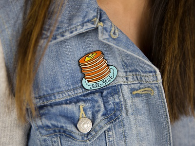 Full Stack Mega Pin jacket pancakes wearable illustration breakfast pin enamel pins