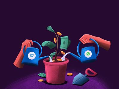 Increase revenue with Freshchat - WhatsApp integration whatsapp blog social freshworks design dribbble style illustration