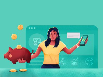 WhatsApp for finance social blog customer chat vector freshworks design dribbble style illustration
