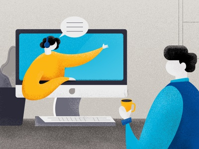 Closer to you dribbble blue text video chat closer customer social design style illustration