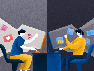 Customer Engagement freshchat blog engage art science engagement support chat freshworks dribbble customer vector social design style illustration
