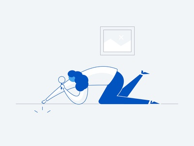 Search Not Found mono blue girl not found search freshworks dribbble vector design style illustration