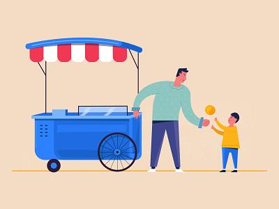 Understanding customer needs seller truck candy support customer vector freshworks dribbble style illustration