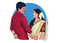 wedding illustration love color tradition wedding couple happy dribbble illustration