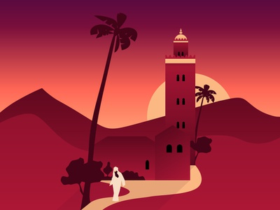Colorful Cities / Morocco flat vector design illustration