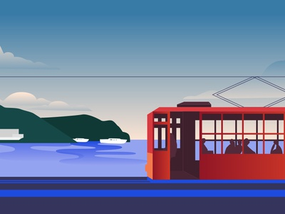Colorful Cities / Palma de Mallorca travel vector flat design illustration
