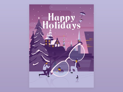 Optician Christmas card fairytale postcard card christmas optician glasses copenhagen illustration flat vector happy holidays