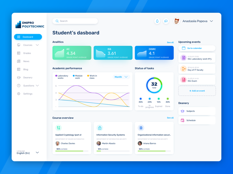 Student's dashboard Concept university profile side menu cards chart diagram dashboad uiux ux logogrid icon web list view colors app interface concept colorful design ui