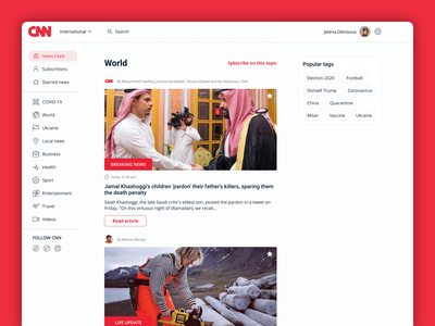CNN home page redesign concept challange user story blog dashboard newsfeed news web logo list view colors app interface concept colorful design ui