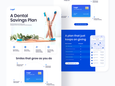 Dental landing page layout card medical dental illustraion typography ux list view colors interface app design concept colorful ui