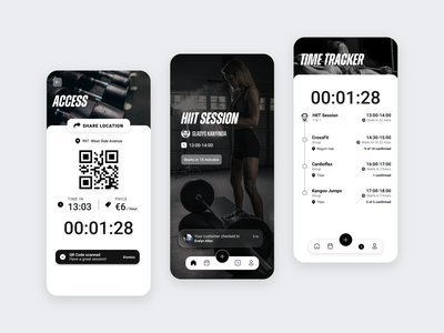 Sport app black  white wellness sport typography icon list view colors interface app design concept colorful ui