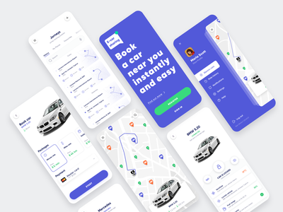 Car Sharing App illustraion map taxi car sharing car mobile app typography ux list view colors interface app design concept colorful ui