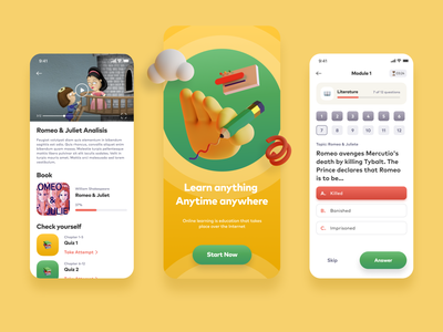 eLearning App for High School Students stayhome education school 3d web ux illustration typography list view colors interface app design concept colorful ui