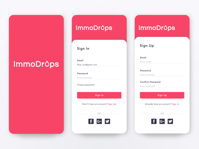 Sign In Immdrops App splash screen simple app sign up app sign in app login sign in screen sign up page login screen welcome interface login sign up sign in flat colors colorful ui design concept app