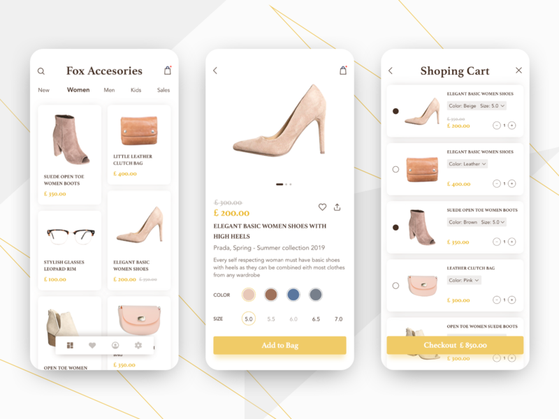 Shopping App Concept tab bar fashion app fashion design fashion clothes shop shoes shop cards ui shopping list shopping cart space simple online shop shopping app shopping interface ui colorful design concept app