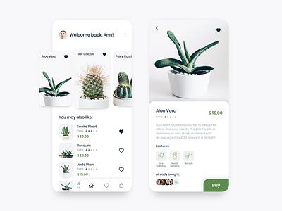 Succulent shop concept mobile app tab bar plants minimal ux typography branding vector logo illustration shopping app icon list view colors interface colorful ui design concept app