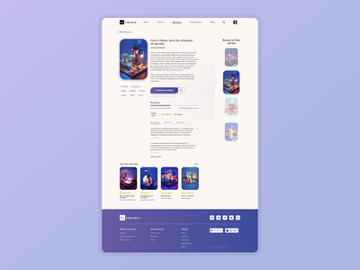 Book preview web page footer web site book app grid progressbar button gradient preview film book typography logo list view interface colorful ui app design concept