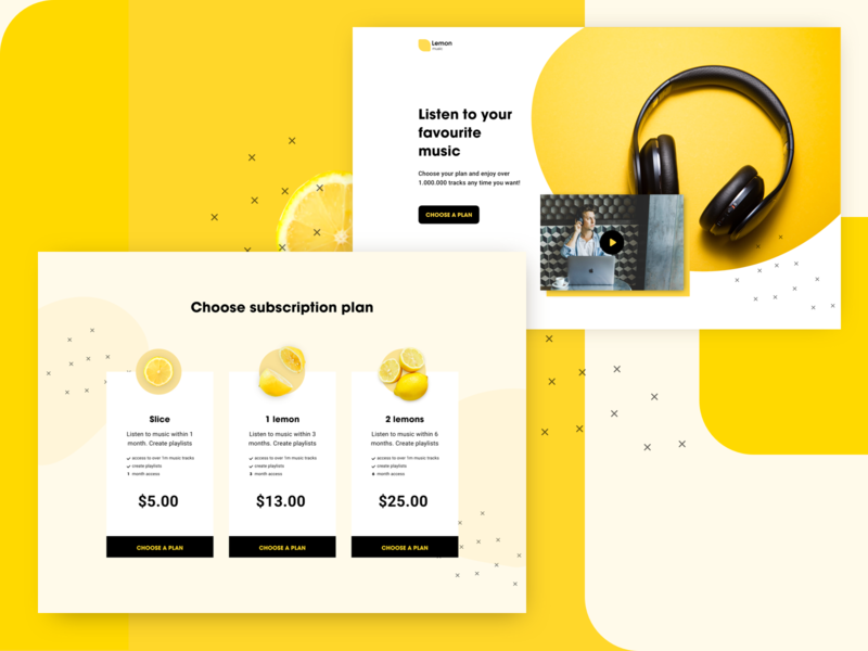 Landing Page designchallenge music subscription lemon yellow web design desktop website web landing page landing ux flat list view colors interface concept colorful ui design
