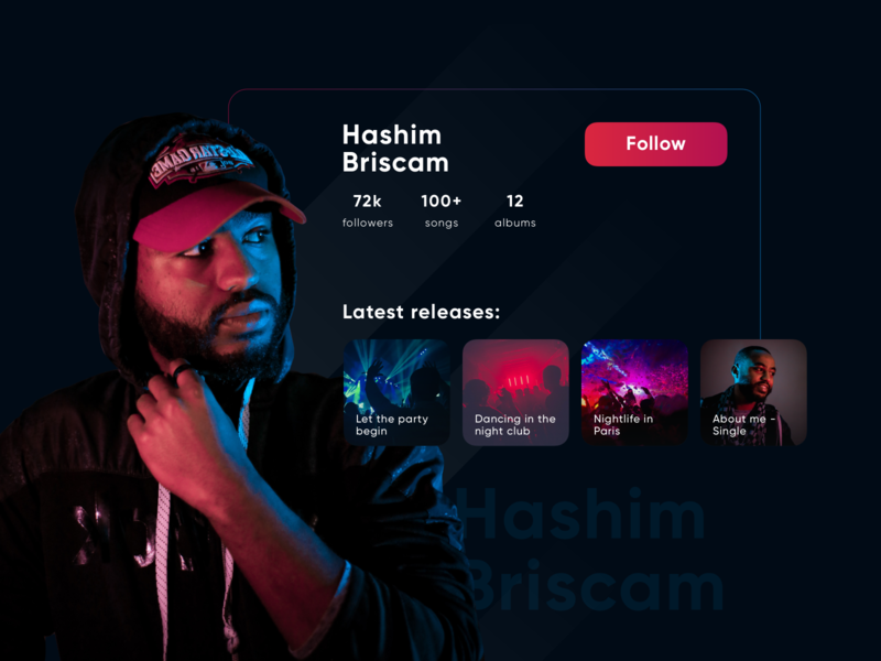 User profile music photo red and blue list view flat login challenge landing neon user profile ux web colors app interface concept colorful ui design