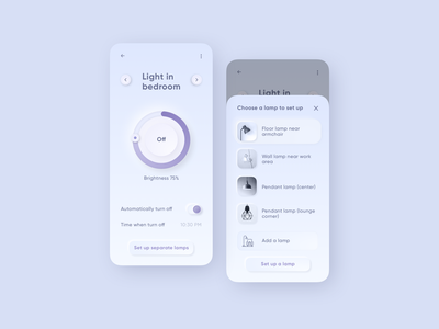 Settings neomorphism clear clean neutral settings thermostat smart house violet neumorphic neumorphism web challenge list view colors app interface concept ui colorful design