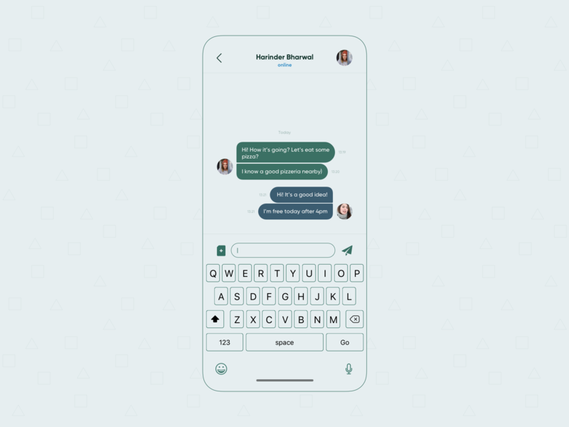 Direct Messaging keyboard chat flat icon challenge list view colors app interface concept colorful ui design
