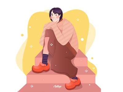woman sitting on the stairs in a flat illustration