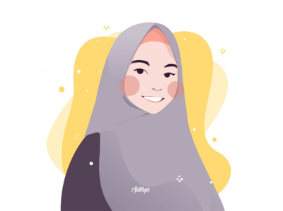 Muslim girl with a sweet smile in a flat character illustration