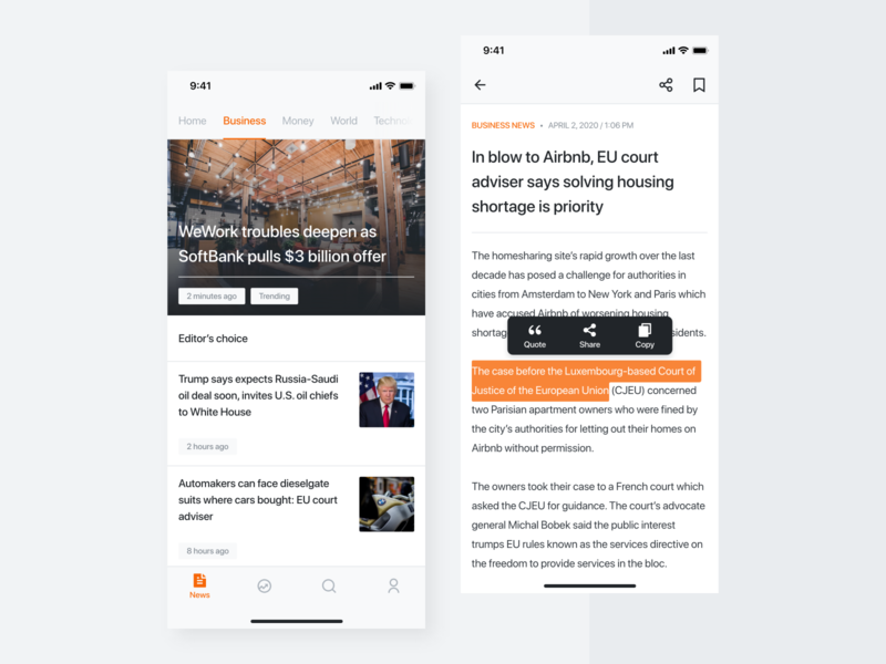 News App article reading app reading newsfeed newsapp news app flat minimal ux ui design