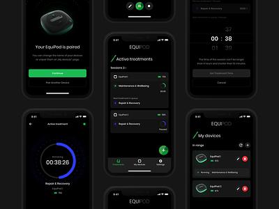 EquiPod bluetooth dark theme dark mode minimal android ios horse medical app treatment microcurrent equine app design ux ui