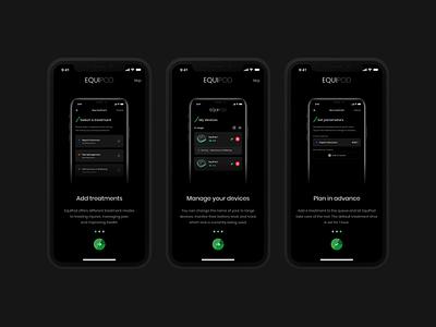 EquiPod - Onboarding dark theme dark mode onboarding treatment microcurrent medical app equine horse bluetooth android app ios app app minimal design ux ui