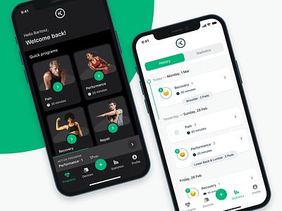 NuroKor Lifetech App | Programs & History lightmode darkmode light dark healthapp health program treatment microcurrent design flat app minimal ux ui