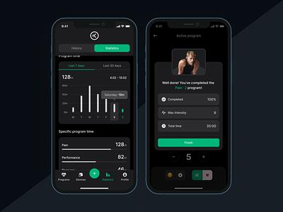 NuroKor Lifetech App | Statistics program treatment healthapp health microcurrent lightmode darkmode light dark appdesign design app minimal ux ui