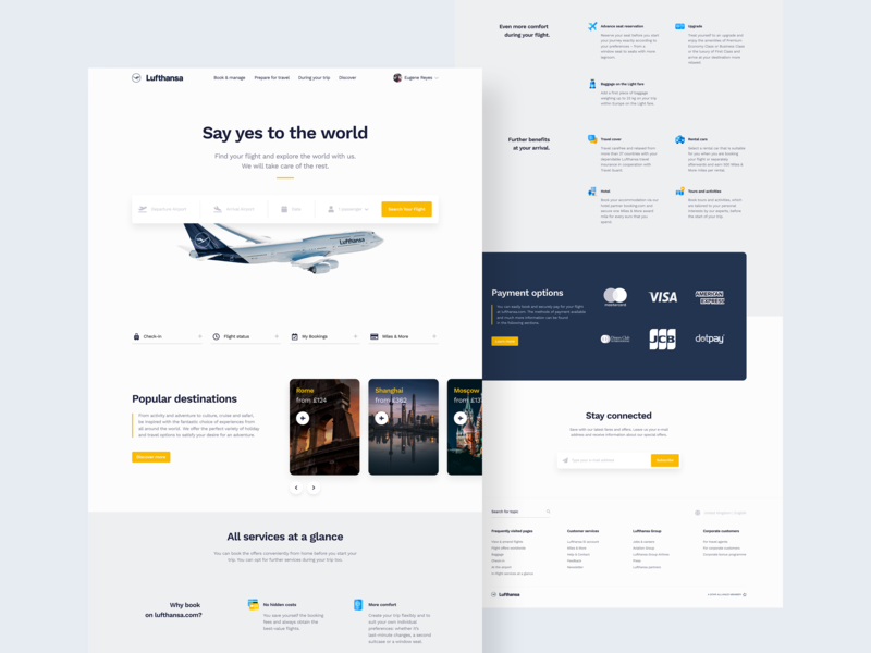Lufthansa Landing Page Redesign Concept travel website travel flight search flight booking redesign webdesign website web flat ui ux minimal design