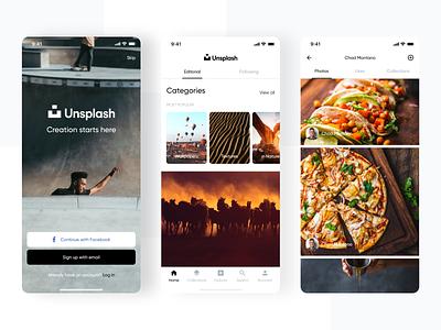 Unsplash | App Design Concept flat ios app ios photos wallpaper unsplash concept app minimal design ui ux