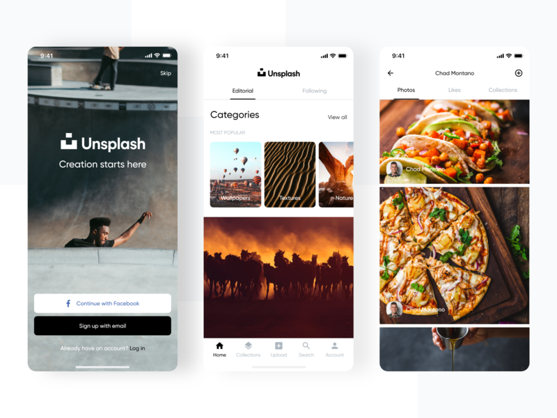 Unsplash | App Design Concept flat ios app ios photos wallpaper unsplash concept app minimal design ui ux