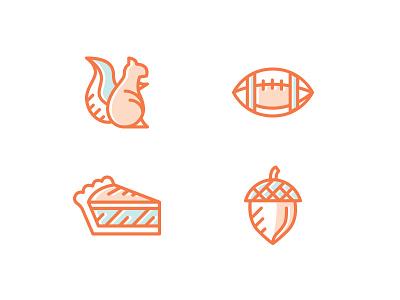 Fall Icons squirrel pie acorn football