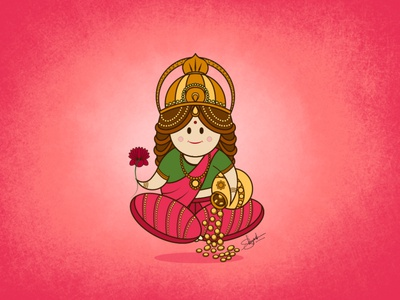 Lakshmi Maa illustration shreyanshsaurabhart illustrations lord lakshmi illustration digital art cute hindu god character design in illustrator character design cartoon render character art art