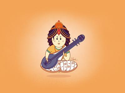 Saraswati Maa illustration maasaraswati godillustration hindugod sketch shreyanshsaurabhart saraswati maa saraswati illustrations goddess saraswati illustration digital art cute hindu god character design in illustrator character design character render cartoon art