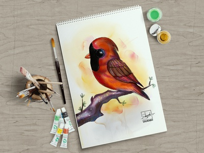 Watercolor Red Cardinal Bird - Character Design watercolor saurabh singh rajput artist sketchbook art character shreyansh saurabh character design sketch illustration digital art
