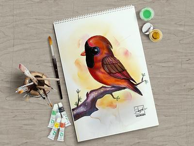 Watercolor Red Cardinal Bird - Character Design watercolor saurabh singh rajput artist sketchbook art character shreyansh saurabh character design sketch illustration digital art