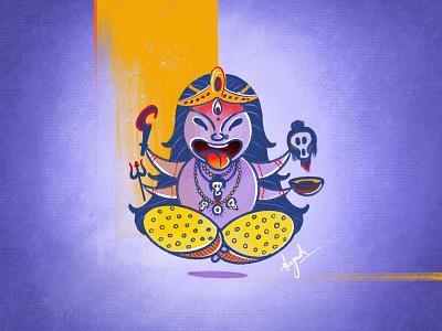Kali Maa illustration shreyanshsaurabhart illustrations goddess kali illustration digital art cute hindu goddess character design in illustrator character design goddess kali godess character art cartoon render art