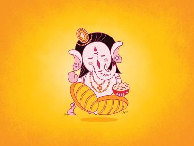 Lord Ganesha Illustration illustrations cute hindu god ganesha illustration lord ganesha art character digital art character design in illustrator cartoon render art illustration character design