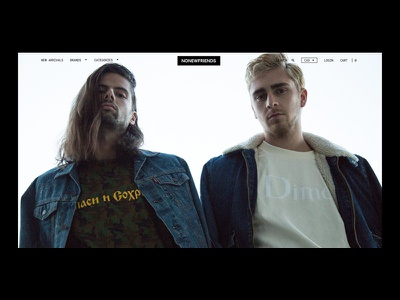 nonewfriends.ca black and white shop landing page ecommerce shopify website