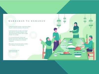 Ramadan activity  illustration islamic dinner family muslim uiux landingpage socialmedia banner web flat illustration ramadan kareem iftar activity