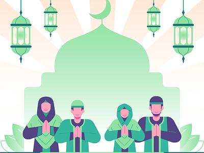 Moslem family illustration  Ramadan and eid al  illustration hijab religious family iftar islam moslem greeting landingpage illustration socialmedia banner flat illustration eid mubarak ramadan kareem ramadan